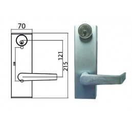 External Trim Lever with Escutcheon - Storeroom (Fitted with Kawneer Cylinder)